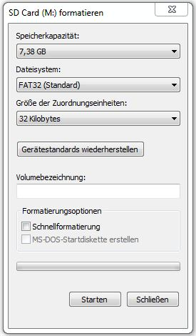 Farmatierung Windows 7