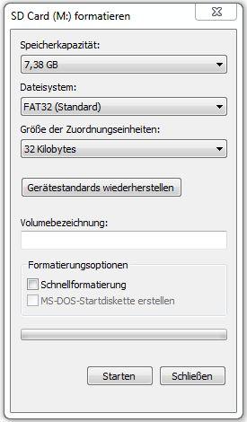 Farmatierung Windows 7