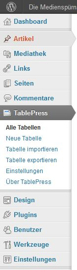 TablePress im Backend