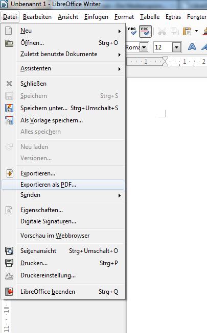 Das Menü Datei mit dem Befehl Exportieren als PDF