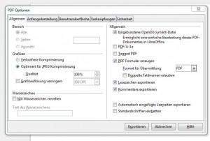PDF Optionen