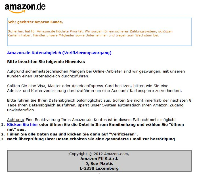 Falsche Mail angeblich von Amazon