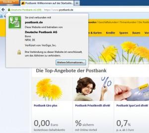 HTTPS Zertifikat der Postbank