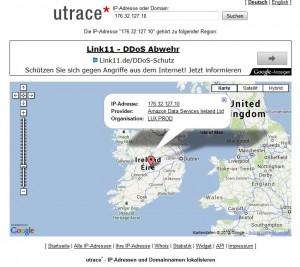 Ultrace erkennt die im Beispiel verwendete IP Adresse