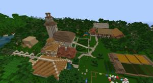 Ein Spielerdorf auf einem Minecraft Multipayer Server - Klick zum Vergrößern