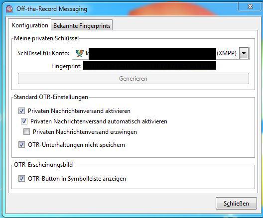OTR Konfiguration Pidgin Hier konfiguriert man sich am besten für jedes Messengerkonto ein eigenes Schlüsselpaar.